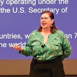Stephanie Chetraru, the U.S. Army Command and General Staff College Distinguished Chair for Development Studies, discusses USAID's role in countering Russian and Chinese influence during the InterAgency Brown-Bag Lecture on March 12, 2020.