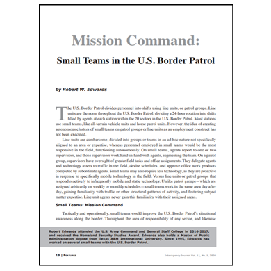Featured Article: Small Teams in the U.S. Border Patrol