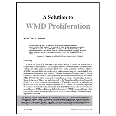 Featured Article: A Solution to WMD Proliferation