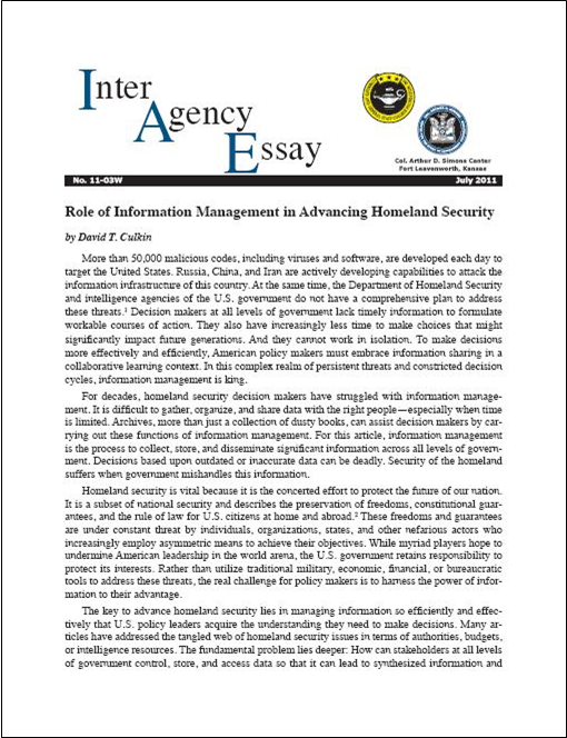 IAE 11-03W Role of Information Management in Advancing Homeland Security (Web-Exclusive)