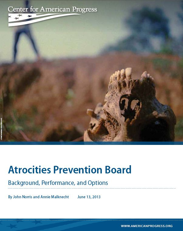 Center releases report on Atrocities Prevention Board
