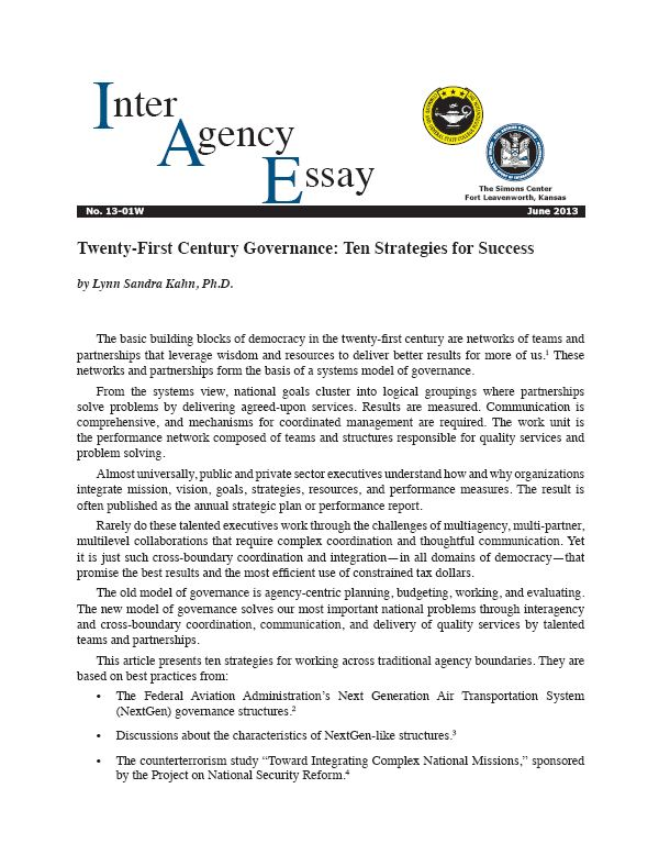 IAE 13-01W Twenty-First Century Governance: Ten Strategies for Success