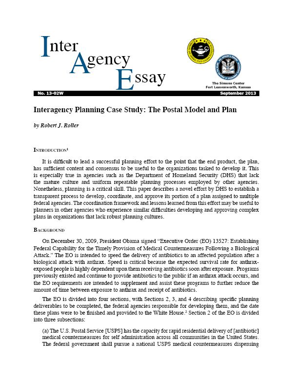 IAE 13-02W Interagency Planning Case Study: The Postal Model and Plan