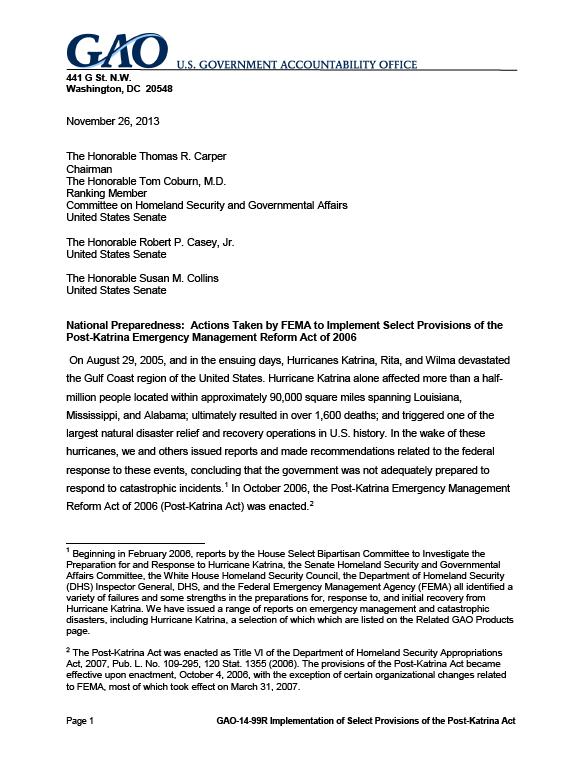 FEMA actions address Post-Katrina Act