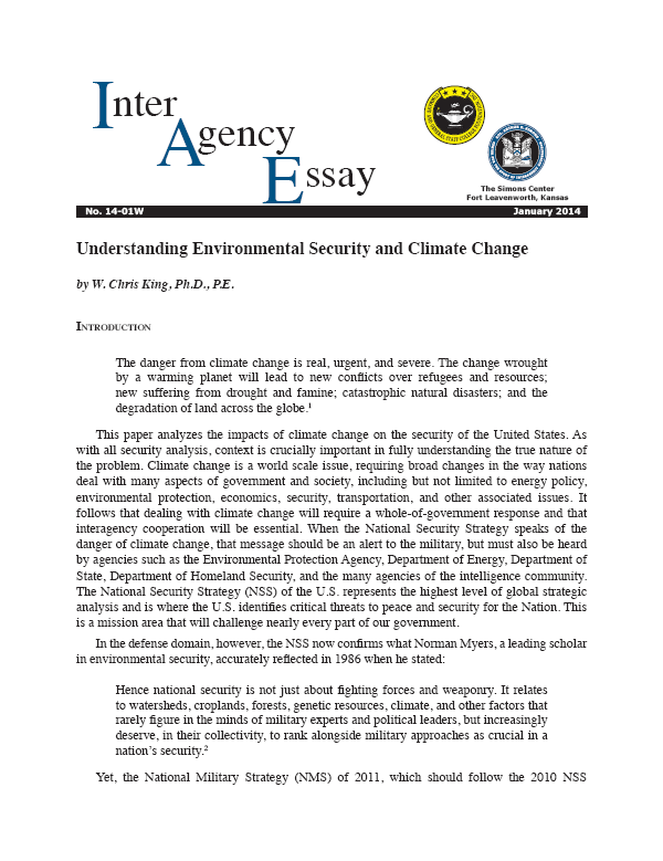 IAE 14-01W Understanding Environmental Security and Climate Change