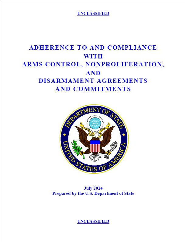State issues nonproliferation compliance report
