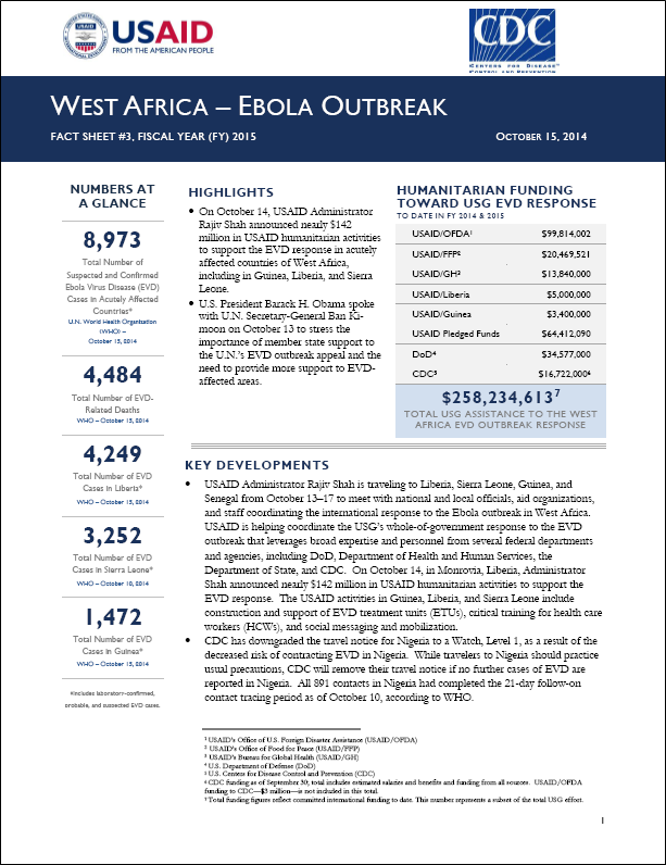 USAID, White House release Ebola factsheets