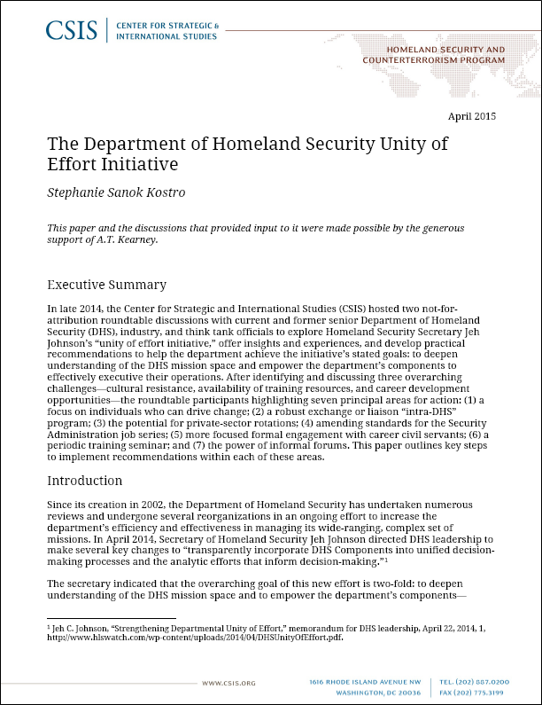 CSIS reports on DHS unity of effort initiative