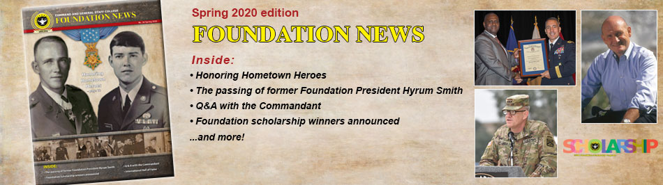 Foundation News, No. 26, Spring 2020, composite image with cover and headlines