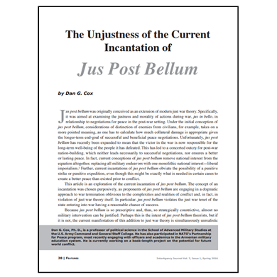 Featured Article: The Unjustness of the Current Incantation of Jus Post Bellum