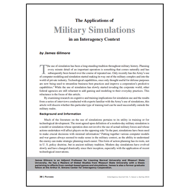 Featured Article: The Applications of Military Simulations in an Interagency Context