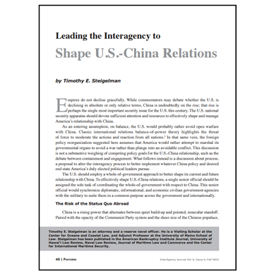 Featured Article: Leading the Interagency to Shape U.S.-China Relations
