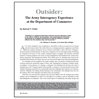 Featured Article: The Army Interagency Experience at the Department of Commerce