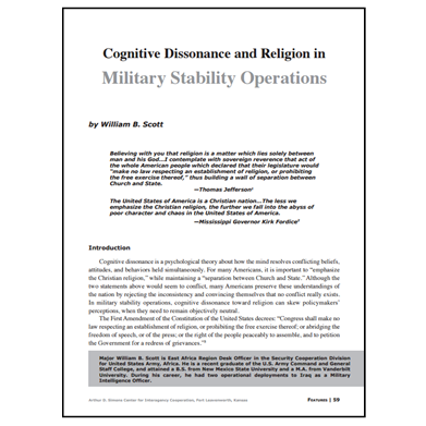 Featured Article: Cognitive Dissonance and Religion in Military Stability Operations