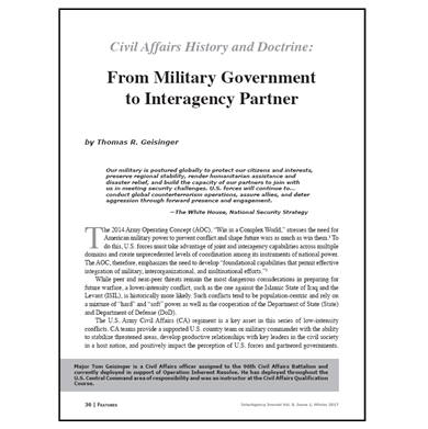 Featured Article: Civil Affairs History and Doctrine: From Military Government to Interagency Partner