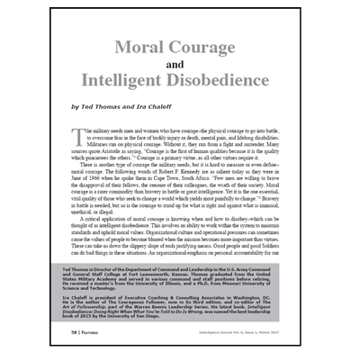 Featured Article: Moral Courage and Intelligent Disobedience