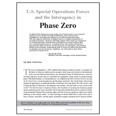 Featured Article: U.S. Special Operations Forces and the Interagency in Phase Zero