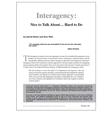 Featured Article: Interagency: Nice to Talk About… Hard to Do