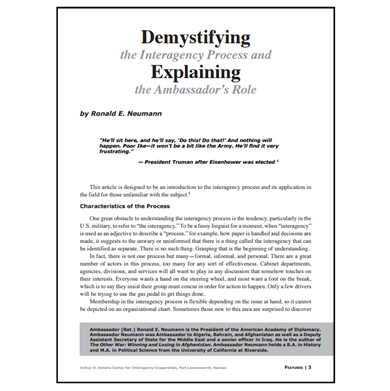 Featured Article: Demystifying the Interagency Process…