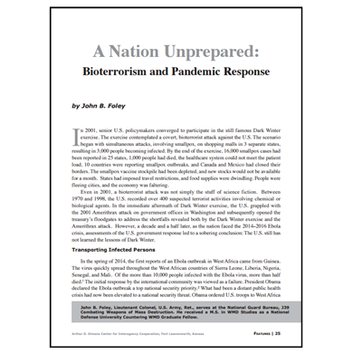 Featured Article: Bioterrorism and Pandemic Response