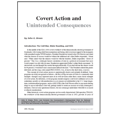 Featured Article: Covert Action and Unintended Consequences