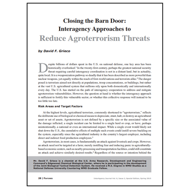 Featured Article: Interagency Approaches to Reduce Agroterrorism Threats