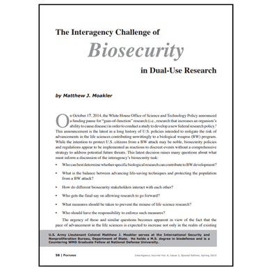 Featured Article: The Interagency Challenge of Biosecurity…