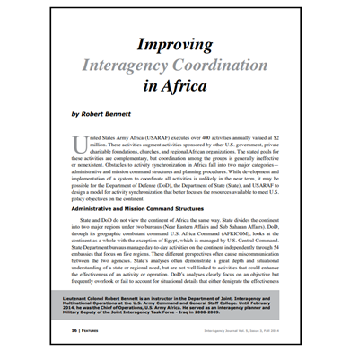 Featured Article: Improving Interagency Coordination in Africa