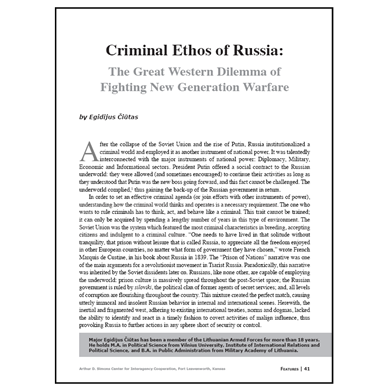 Featured Article: Criminal Ethos of Russia…