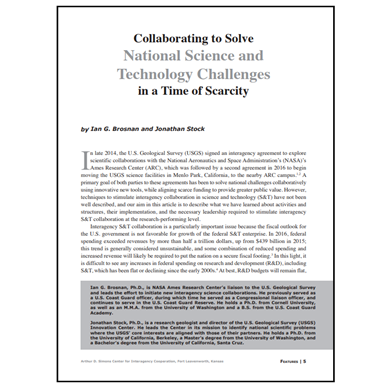 Featured Article: Collaboration to Solve National Science and Technology Challenges…