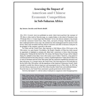 Featured Article: American and Chinese Economic Competition in Sub-Saharan Africa