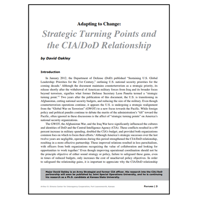 Featured Article: Strategic Turning Points and the CIA/DoD Relationship