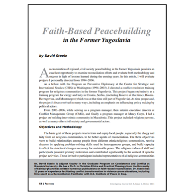 Featured Article: Faith-Based Peacebuilding in the Former Yugoslavia