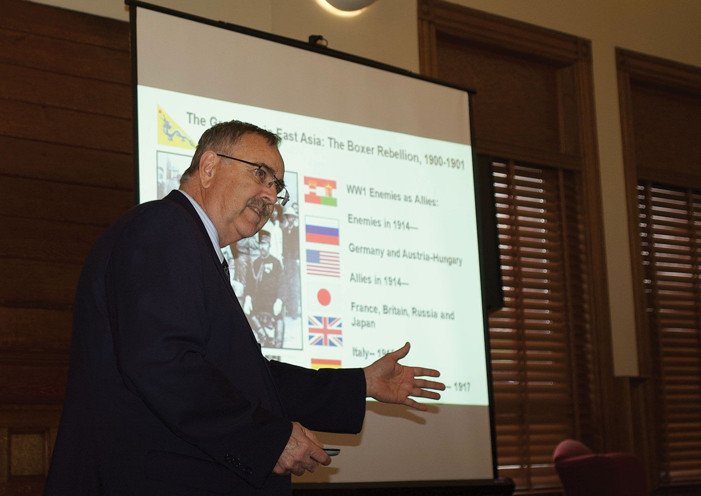 """Dr. Joseph G. D. (Geoff) presents """"The Great War in Asia"""" on Apr. 10."""