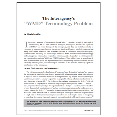 "Featured Article: The Interagency's ""WMD"" Terminology Problem"