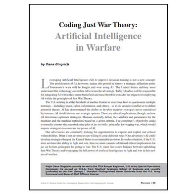 Featured Article: Artificial Intelligence in Warfare