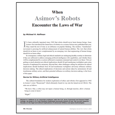 Featured Article: When Asimov's Robots Encounter the Laws of War