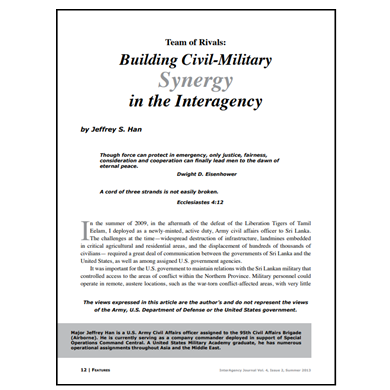 Featured Article: Building Civil-Military Synergy in the Interagency