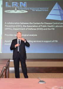 FBI Intelligence Analyst Kenneth Hines addresses bioterrorism issues during the brown-bag lecture on Feb. 25, 2020.