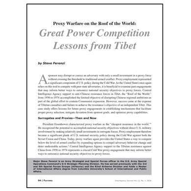 Featured Article: Great Power Competition Lessons from Tibet