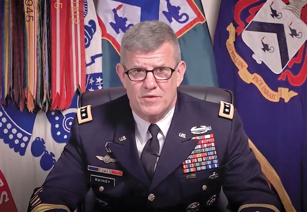 Lt. Gen. James Rainey, commander of the Combined Arms Center and Fort Leavenworth and commandant of the Command and General Staff College, delivers remarks during the SAMS virtual graduation ceremony May 21, 2020.