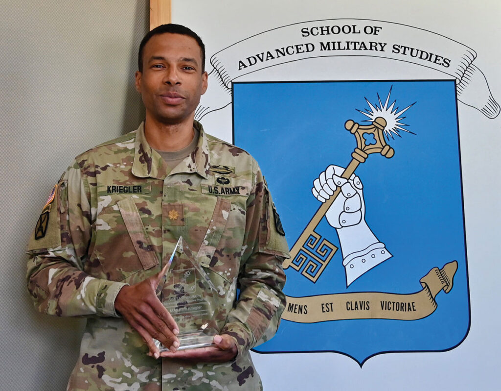 Maj. Sam Kriegler, U.S. Army, recipient of the best monograph award for the SAMS Advanced Military Studies Program Class of 2020.