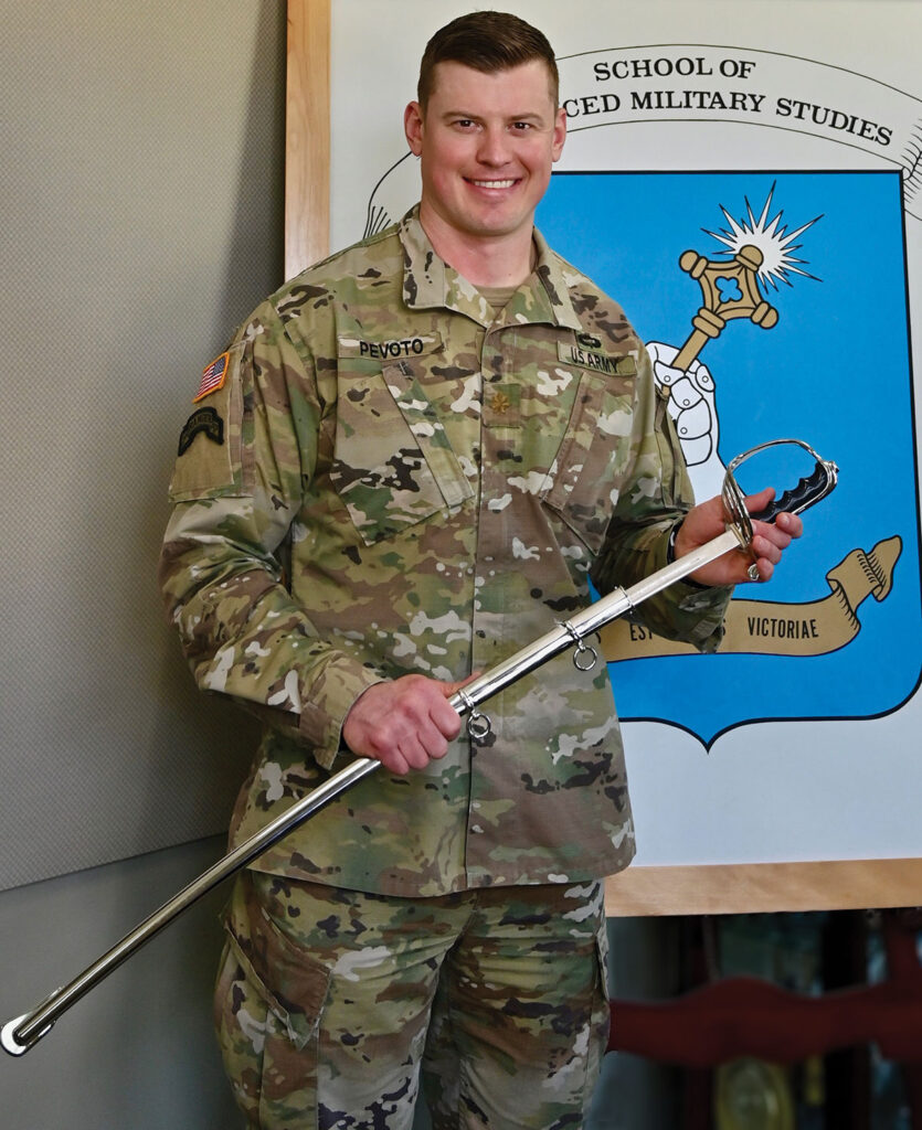 Major David M. Pevoto, U.S. Army, recipient of the Col. Thomas Felts Leadership Award for the top student in the SAMS Class of 2020.