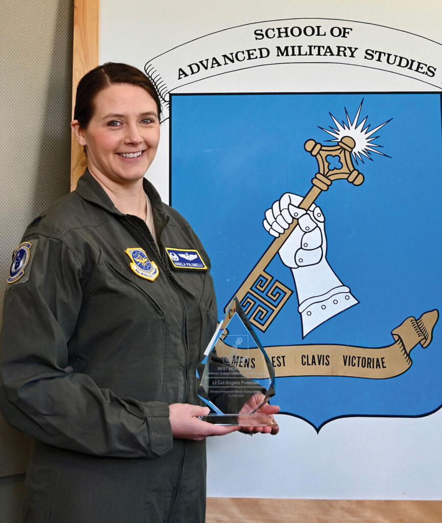 Lt. Col. Angela Polsinelli, U.S. Air Force, recipient of the best monograph award for the SAMS Advanced Strategic Leader Studies Program Class of 2020.