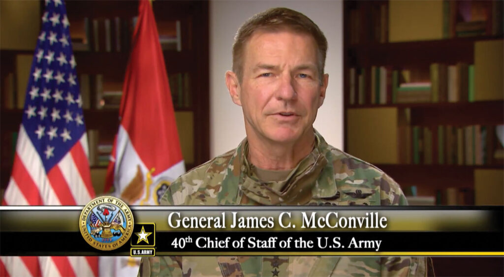 Chief of Staff of the Army Gen. James McConville addresses the graduates of the resident course of the CGSOC Class of 2020 during the virtual ceremony on June 12, 2020.