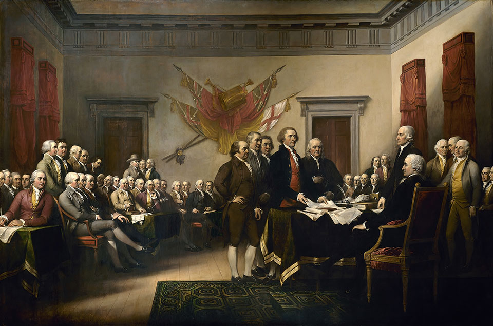 Declaration of Independence, painting created by artist John Trumbull in 1818, depicts the moment on June 28, 1776, when the first draft of the Declaration of Independence was presented to the Second Continental Congress. The document stated the principles for which the Revolutionary War was being fought, which remain fundamental to the nation. The Declaration was officially adopted, July 4, 1776 and later signed on Aug. 2, 1776. (Courtesy of Architect of the Capitol via www.army.mil)