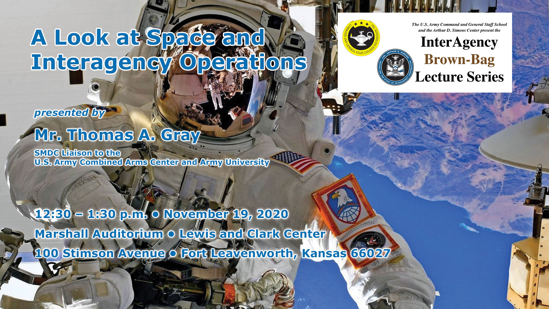 brown-bag lecture image with astronaut and lecture date, time, location