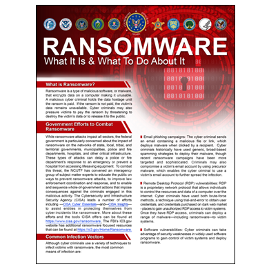 Interagency group publishes fact sheet on ransomware