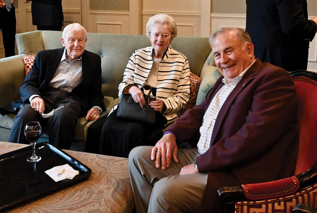 CGSC Foundation Chairman Emeritus retired Lt. Gen. Robert Arter and his wife Lois, left, visit with Foundation Trustee Emeritus Col. (Ret.) Tom Dials during the reception at the Simons Center Distinguished Lecture Series event on Sept. 7, 2021.